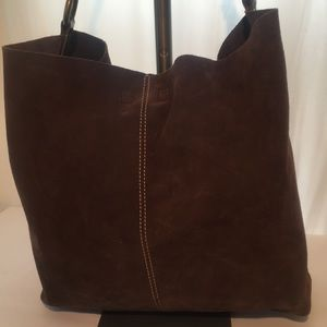 Lucky Brand Shoulder Suede Bag W/Pouch BROWN